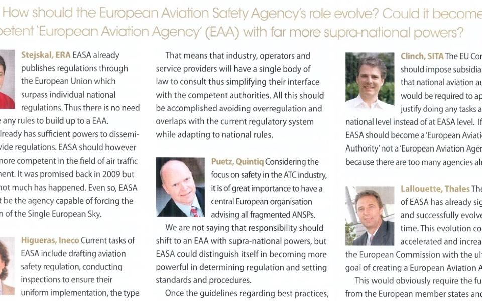 ERA expert Vojtech Stejskal took part of annual survey for the magazine Air Traffic Management