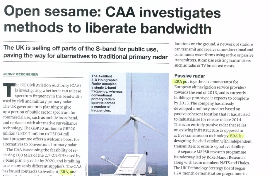 IHS Janes mentioned ERA participation in UK CAA spectrum release programme