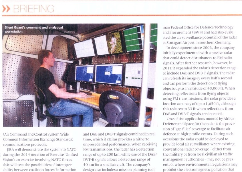 The sound of silence – passive radar development in Jane´s Defence Weekly