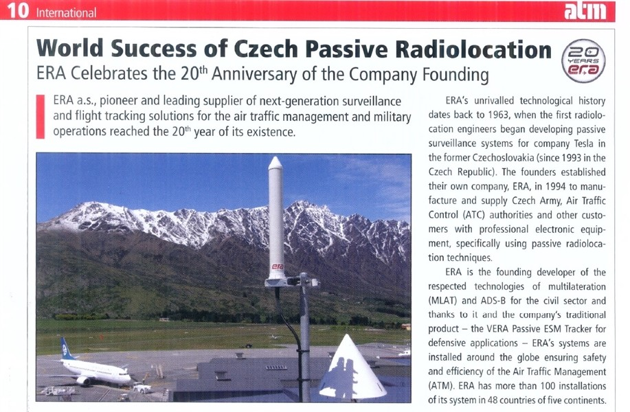 Three article on passive radiolocation and ERA achievements in this field have been published in ATM