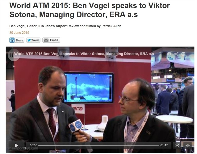 IHS Jane`s Airport Review interviewed ERA Managing Director Viktor Sotona at World ATM Congress in Madrid