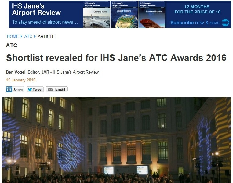 SQUID has been shortlisted for IHS Jane's ATC Awards 2016