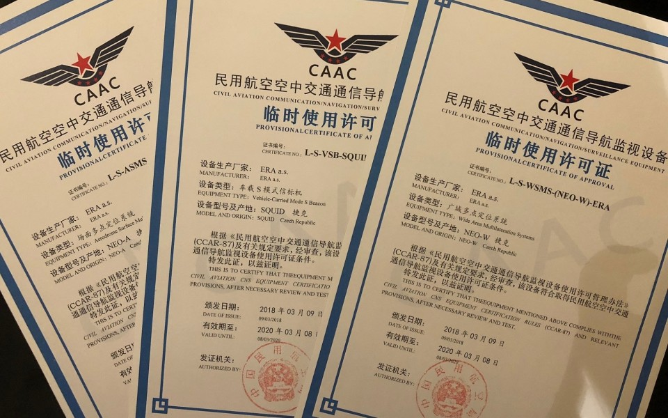 ERA obtained Chinese Permit Certificate as the only foreign manufacturer of multilateration based systems